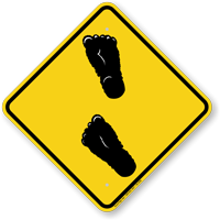 Bigfoot Symbol Caution Sign