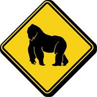 Gorilla Crossing Symbol Sign