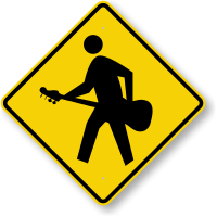 Guitar Player Crossing Sign