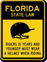 Helmet Law Sign For Florida