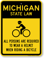 Helmet Law Sign For Michigan