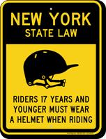 Helmet Law Sign For New York