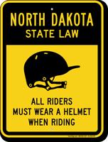 Helmet Law Sign For North Dakota