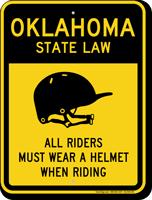 Helmet Law Sign For Oklahoma