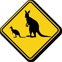 Kangaroo with Joey Crossing Sign