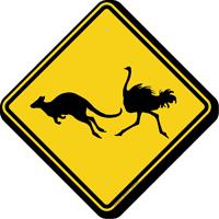 Kangaroo Ostrich Crossing Symbol Sign