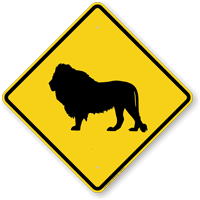 Lion Crossing Symbol Sign