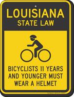Bicyclists 11 Years Wear Helmet Louisiana Law Sign