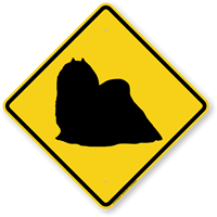Maltese Dog Symbol Crossing Sign