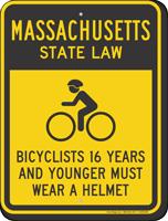 Bicyclists 16 Years Wear Helmet Massachusetts Law Sign