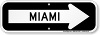 Miami City Traffic Direction Sign