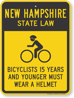 Bicyclists 15 Years Wear Helmet New Hampshire Sign
