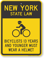 Bicyclists 13 Years Wear Helmet New York Sign