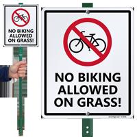 No Biking Allowed On Grass Sign