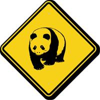 Panda Crossing Symbol Sign