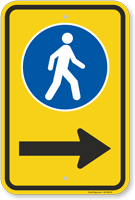 Pedestrian Crossing Sidewalk Sign With Arrow