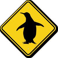 Penguin Symbol Crossing Sign