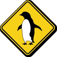 Penguin Walking Symbol Crossing Sign