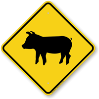 Pig Crossing Symbol Sign