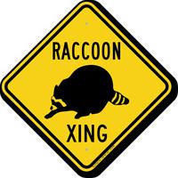 Raccoon Xing Road Sign