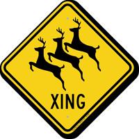 Reindeer Xing Road Sign