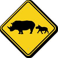 Rhinoceros with Calf Crossing Sign