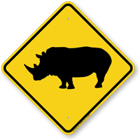 Rhinoceros Crossing Sign