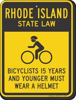 Bicyclists 15 Years Wear Helmet Rhode Island Sign