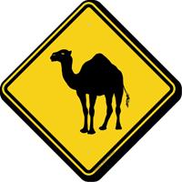 Running Camel Crossing Symbol Sign