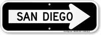 San Diego City Traffic Direction Sign
