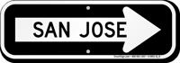 San Jose City Traffic Direction Sign