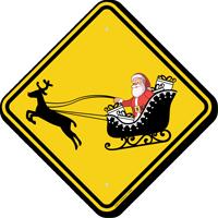 Santa On Sleigh Symbol Crossing Sign
