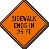 Sidewalk Ends In 25 Feet Sign