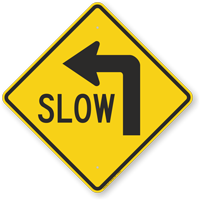 Slow (Left Arrow Symbol) Sign