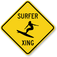 Surfer Xing Crossing Sign