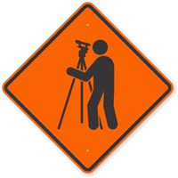 Surveyor Symbol Road Sign