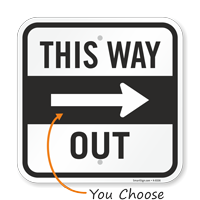 This Way Out With Right Arrow Directional Sign