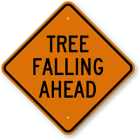 Tree Falling Ahead Diamond-shaped Traffic Sign
