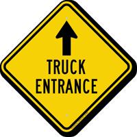 Truck Entrance Ahead Diamond-shaped Traffic Sign