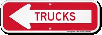 Trucks With Left Arrow Sign