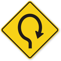 Right Hairpin Curved Driveway Symbol Sign