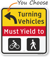 Turning Vehicles Must Yield To Left Arrow Sign