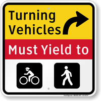 Turning Vehicles Must Yield To Right Arrow Sign