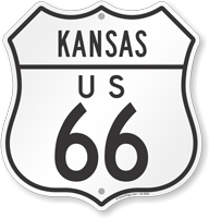 US 66 Kansas Route Marker Shield Sign