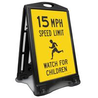 Watch For Children 15 Mph Sidewalk Sign