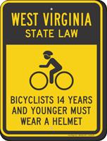 Bicyclists 14 Years Wear Helmet West Virginia Sign