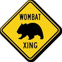Wombat Xing Road Sign