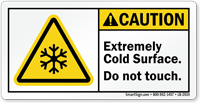 Caution, Extremely Cold Surface, Frostbite Hazard Label