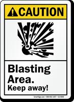 Blasting Area Keep Away ANSI Caution Sign