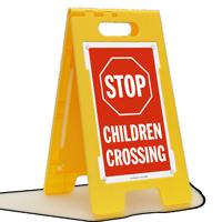 STOP Children Crossing Standing Floor Sign